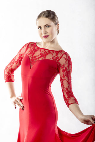 dancebox red ballroom dress with lace back and 3/4 lace sleeves from dancewear for you australia