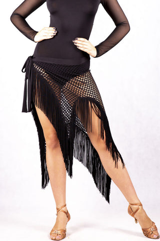 Sexy and elegant very comfortable black wrap skirt cut out of a fantastic semi transparent stretch MAXI mesh.  Finished with fringing that adds beautiful movement.