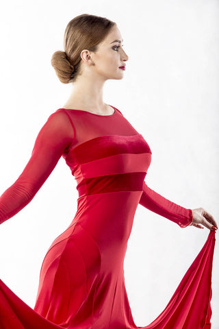 Dancebox RED Ballroom Dress with long mesh sleeves, velvet panels and mesh back from dancewear for you australia