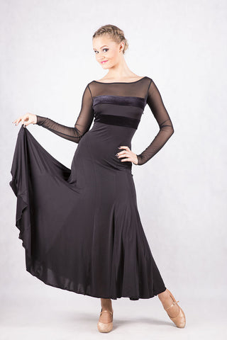 Dancebox Black Ballroom Dress with long mesh sleeves, velvet panels and mesh back from dancewear for you australia