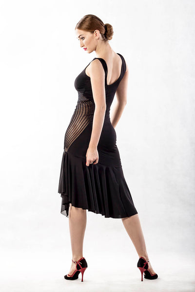 dancebox swirl black latin dress with asymmetric hemline from dancewear for you australia