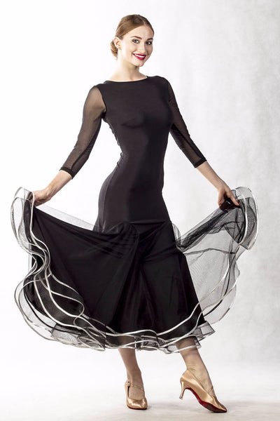 Dancebox Silver Waves Ballroom Dress in Black with stunning silver trim with long mesh sleeves and sheer mesh back design from dancewear for you australia