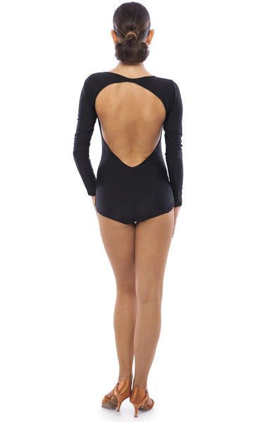 sasuel ladies latin dance leotard with deep v open back and long sleeves from dancewear for you australia and nz