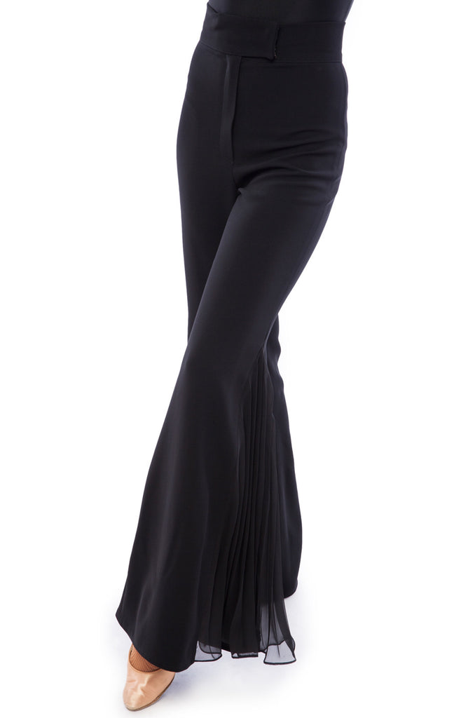 sasuel maya black ladies ballroom trousers with pleated georgette detail from dancewear for you australia