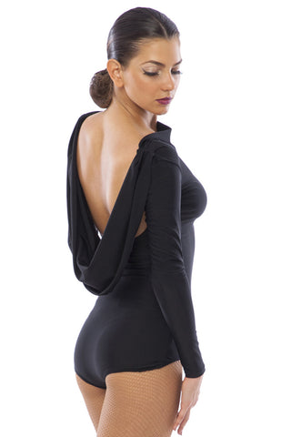 sasuel ladies dance leotard with open back with draping detail and long sleeves from dancewear for you australia and nz