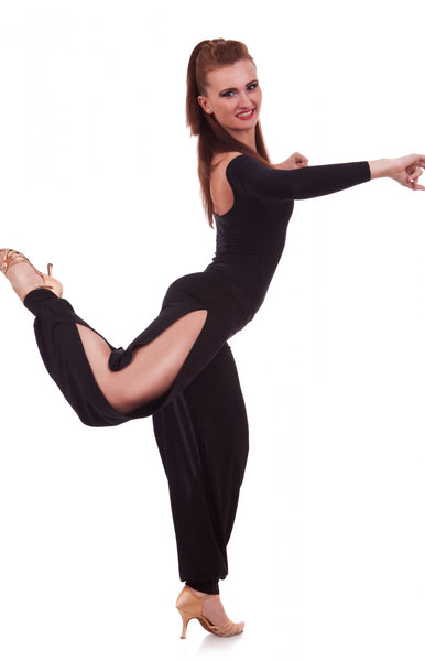 sasual ladies pants with side splits for tango dance and salsa and latin dance from dancewear for you australia