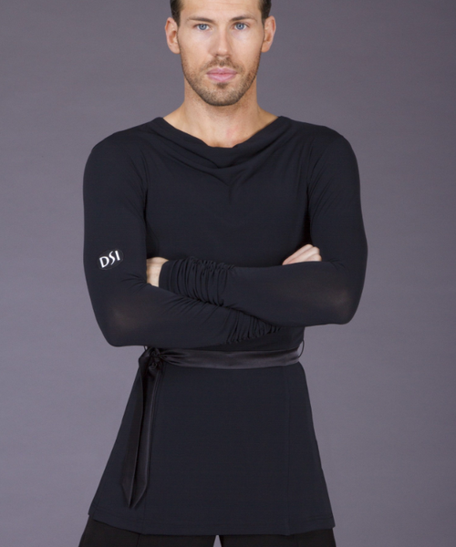 dsi mens crepe latin shirt with long sleeves and satin belt worn over trousers for latin dancesport costume latin shirts from dancewear for you australia free shipping