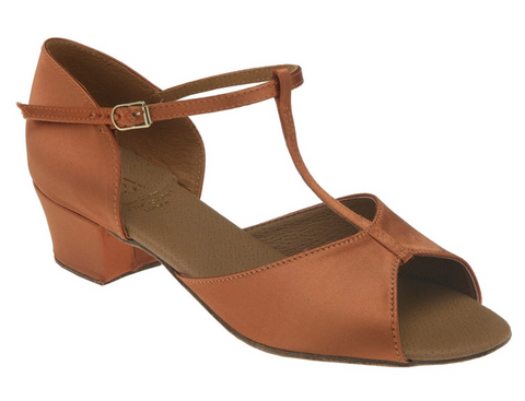 The Delpfine Girls Dance Shoes is available in Tan satin only with 1½ inch (38mm) Cuban heel.