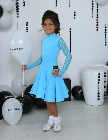 Basic Juvenile Ballroom Dress created by Atelier SM in Baby Blue.  This dress is available in most colours.  Just drop me a line with your selections.  Fabric:  Chrisanne-Clover.  Atelier SM Juvenile Dresses