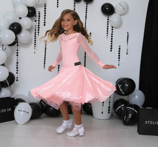 Juvenile Ballroom Dress created by Atelier SM in Sugar Pink.  This dress is available in most colours.  Just drop me a line with your selections.  Fabric:  Chrisanne-Clover.  Atelier SM Juvenile Dresses  Stunning, quality Girls Juvenile Ballroom & Latin DanceSport Dresses