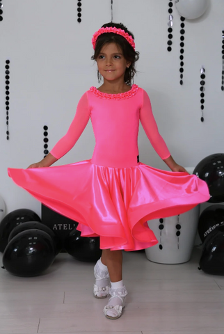 Juvenile Ballroom & Latin Dress created by Atelier SM in Pink Fizz.  This dress is available in most colours.  Just drop me a line with your selections.  Fabric:  Satin Velvet Chrisanne-Clover.  Atelier SM Juvenile Dresses  Stunning, quality Girls Juvenile Ballroom & Latin DanceSport Dresses