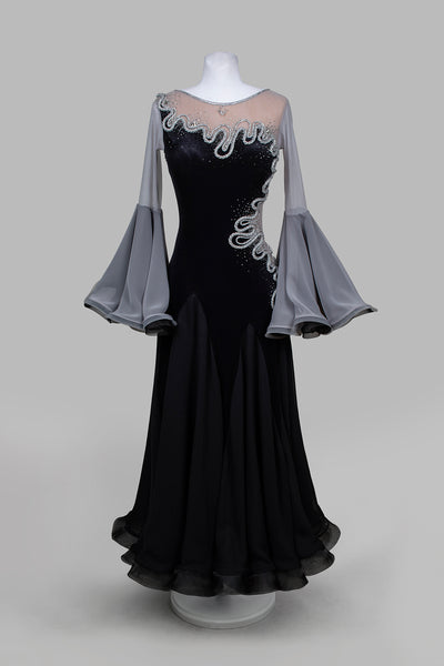 EM Light - Silver Waves Ballroom Competition Dress