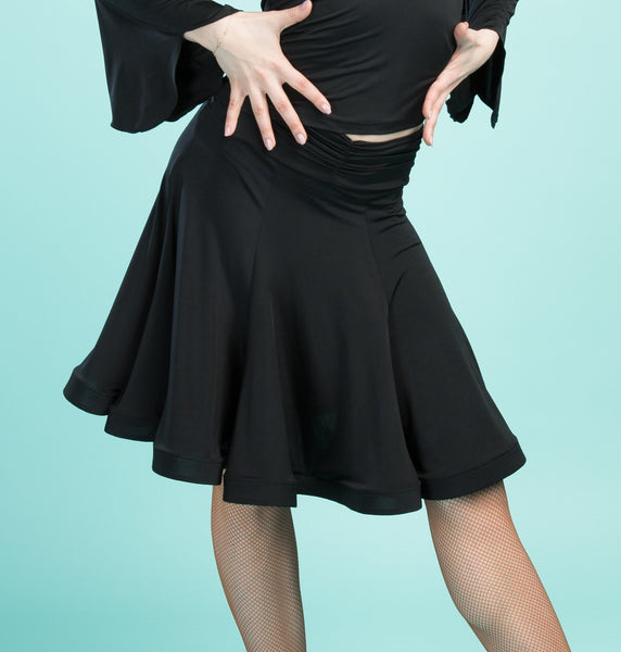 short fit and flare latin skirt with panels and crinoline hemline with free shipping from dancewear for you australia