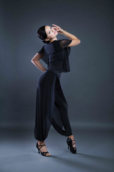Ladies Ballroom and Latin dance top with chiffon from Dancewear For You Ballroom and Latin Dancewear Australia