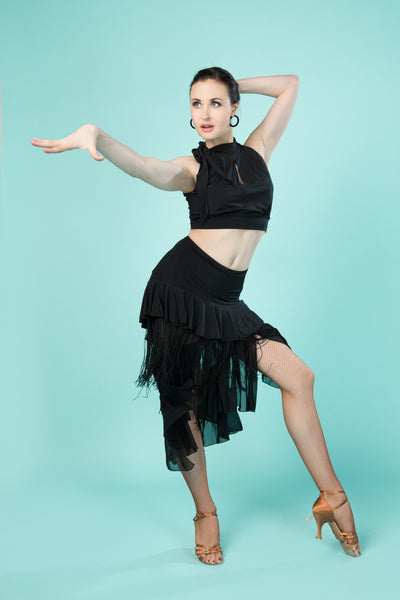 black asymmetric latin dance skirt with fringe and ruffles from dancewear for you australia