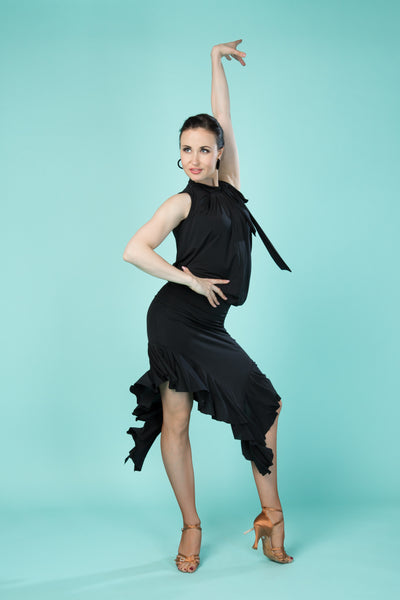 black slimline asymmetric latin and evening skirt with ruffles at the hemline from dancewear for you australia