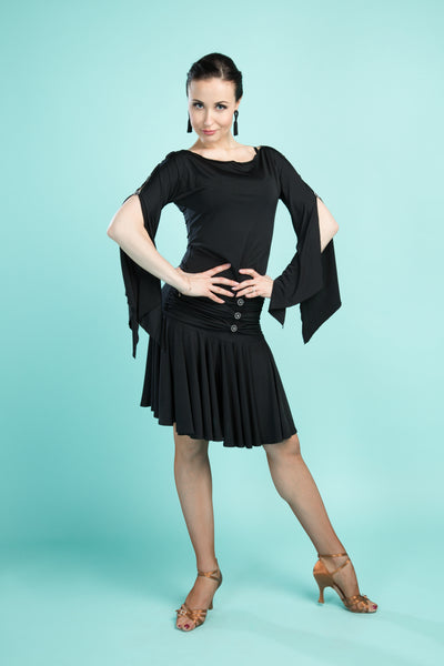 santoria dancewear ladies black top with long sleeves with slit from dancewear for you australia