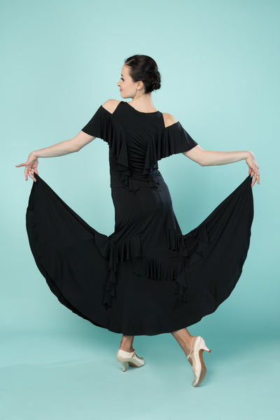 long black ballroom skirt with ruffles from dancewear for you australia