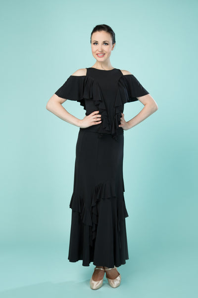 santoria ladies top with ruffles and flowy ruffled cap sleeves with shoulder cut outs from dancewear for you