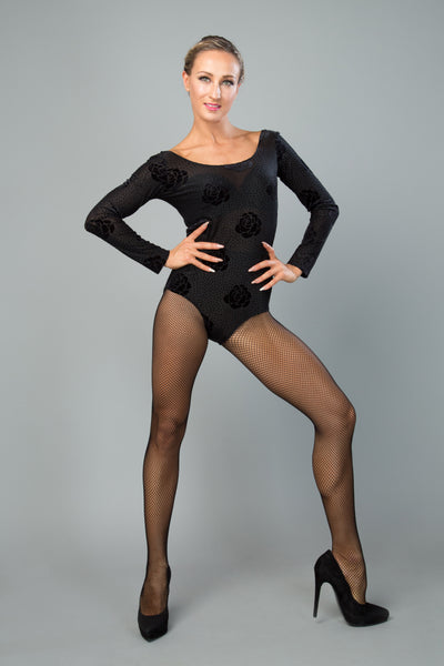 ladies black dance leotard with long sleeves from dancewear for you australia