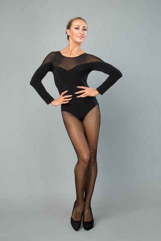 ladies black dance leotard with long sleeves and stretch mesh neckline from dnacewear for you australia