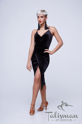 black stretch velvet wrap dress for latin dance and cocktail evening wear from dancewear for you australia