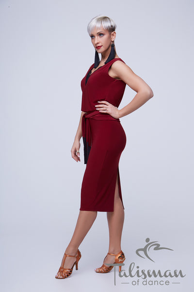burgundy dark red cocktail and latin dress with v neckline, pencil skirt and belted waist from dancewear for you australia