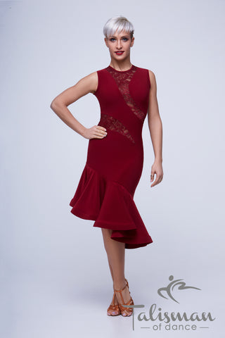 Sleeveless, Fitted Asymmetric Latin & Cocktail Dress with Lace Inserts PL-966
