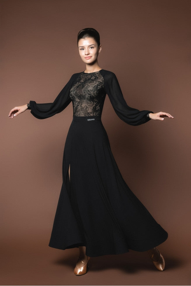 black ballroom skirt from dancewear for you australia