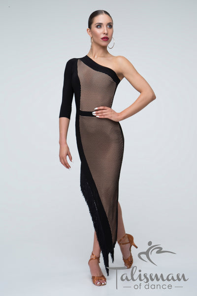 one shoulder slimline latin dress with single sleeve and asymmetric hemline with fringe and side split from dancewear for you australia