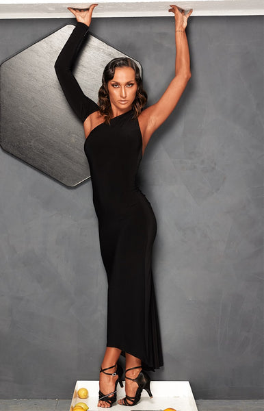 sasuel long slimline pencil style latin dress with back split long rumba dress tango dress with black split from dancewear for you australia