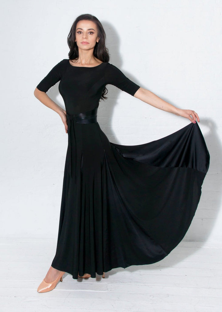 miari new york long ballroom dress with 3/4 sleeves and round neck and satin belt from dancewear for you australia with free shipping