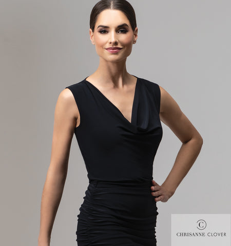 Suitable for both dancing and teaching alike, the Alyssa top exudes sophistication to pair with any chosen skirt or trouser.  This practise top features a flattering cowl neckline with wide shoulder straps, to allow underwear to be discreetly worn underneath.  Made CHRISANNE CLOVER Luxury Crepe.  free shipping from dancewear for you australia in perth
