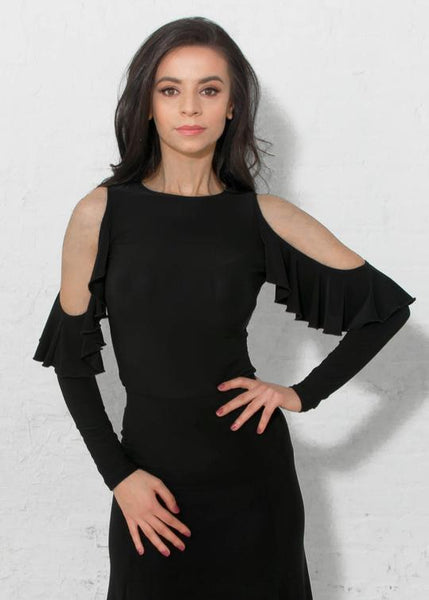 miari dancewear new york ladies long sleeve top with ruffle sleeves in black from dancewear for you australia