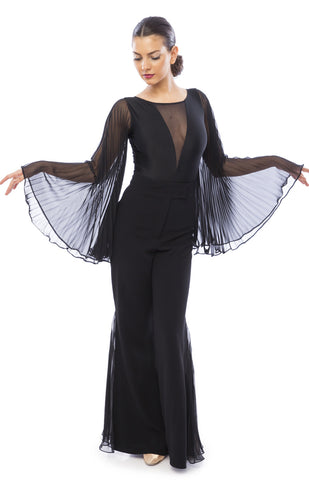 sasuel ballroom dance leotard with pleated long slowing sleeves and deep v front from dancewear for you australia