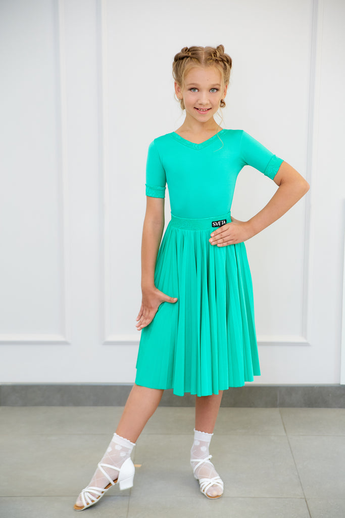 Sveta Dance Fashion created and produced in Russia using only the finest dance fabrics.  This beautiful Girls Juvenile DanceSport Dress is made using Chrisanne Clover Stretch Lycra and Stretch Lace - Cool Aqua.