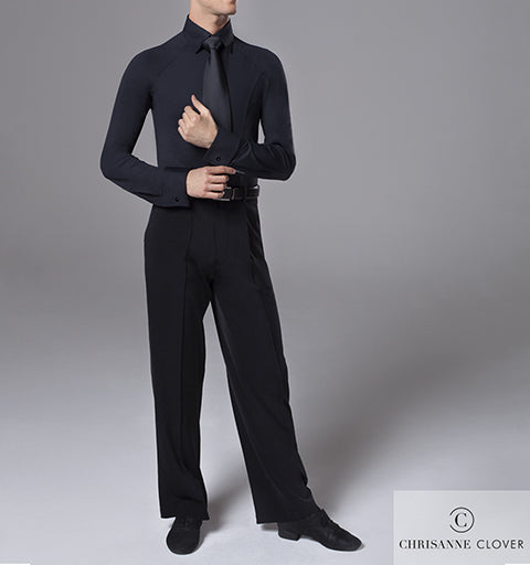 Chrisanne Clover Mens Black Ballroom Practice Shirt & Pants Bundle