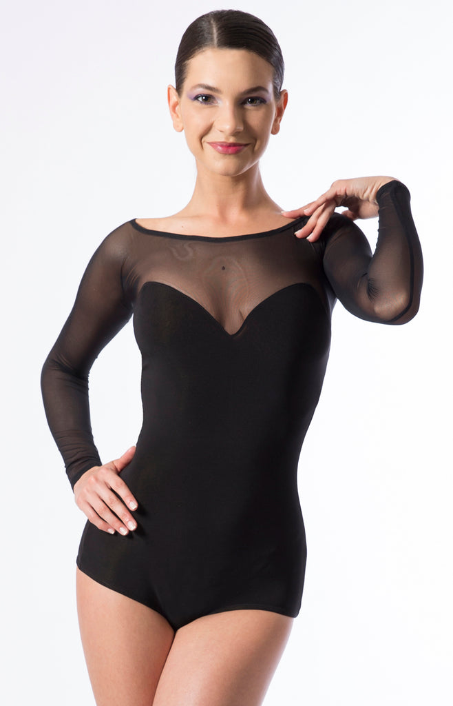 sasuel ladies dance leotard, dance bodysuit, bodysuit with long stretch net sleeves and back from dancewear for you australia