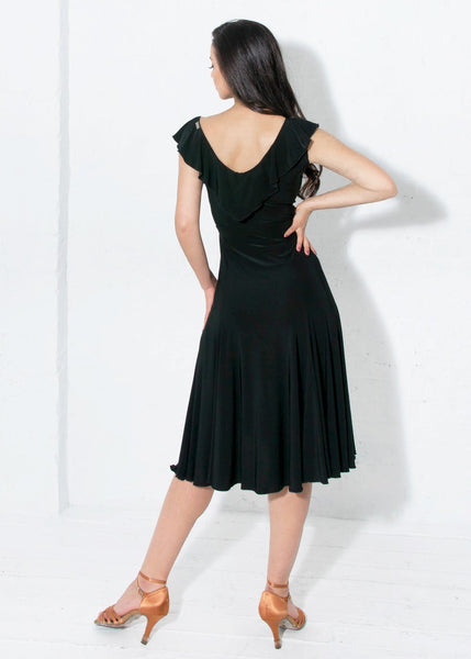 miari latin and cocktail dress with front split and wrap style with ruffles for latin and salsa or evening wear from dancewear for you australia