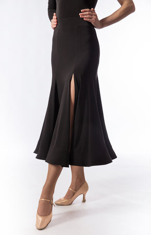sasuel black ballroom skirt with side split from dancewear for you australia