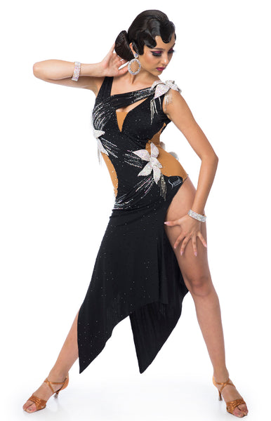 Latin dress with nude lycra insertions on the sides, 3D crystal flower applications, Jet and Ab Crystals, fully stoned and decorated. Bracelets included.  This stunning, fully completed, ready to wear Latin DanceSport Dress can be created in any colour and size.