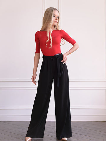 danza ladies black pants with high waist, wide leg, dance trousers, ballroom trousers for ladies from dancewear for you australia