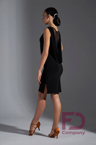 "Free Australia-wide standard shipping.  Best price worldwide with tracking.  Sleeveless Latin and Cocktail Dress.  Straight silhouette with and undercut below the waistline and pants sewn into this undercut.  A collar is sewn along the neck at the front and a draping ""collar"" falls down the back to the waistline.  Made using stretch crepe with stretch mesh back.   Perfect for Evening Wear, Social Dancing, Practice or Performance.  Dance trunks included."
