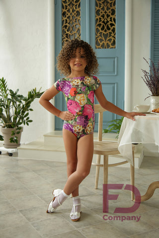 Free Australia-wide shipping.  Best price worldwide with tracking.  Girls classic leotard for all dance styles paired with a skirt, pants or leggings.  Short sleeves with a slightly scooped neckline at the back and button fasteners at the bottom.  Made using printed jersey stretch dance fabric.