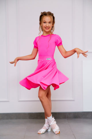 Sveta Dance Fashion created and produced in Russia using only the finest dance fabrics.  This beautiful Girls Juvenile DanceSport Dress is made using Chrisanne Clover Stretch Lycra with Lace Trim on the Bodysuit in Pink Fizz.