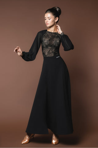 ladies black lace dance leotard with long chiffon sleeves for ballroom dance or evening wear from dancewear for you australia