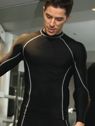 mens long sleeve black compression training top from dancewear for you australia and new zealand