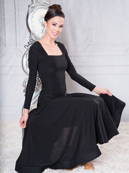 FREE AUSTRALIA-WIDE SHIPPING with tracking!  Elegant Square Neckline Ballroom Dress with Ruched Hip, Rhinestone Accent and Wide Crinoline Trim.  Perfect for evening wear or performance!  Drop me a line to learn about my professional decorating service and add some sparkle to this dress for DanceSport!