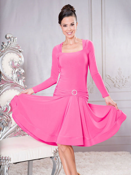 Ladies Elegant Square Neckline Ballroom Dance Dress with Ruched Hip and Rhinestone Accent and Wide Crinoline Trim.  Perfect for practice, social dancing, evening wear and DanceSport competition.