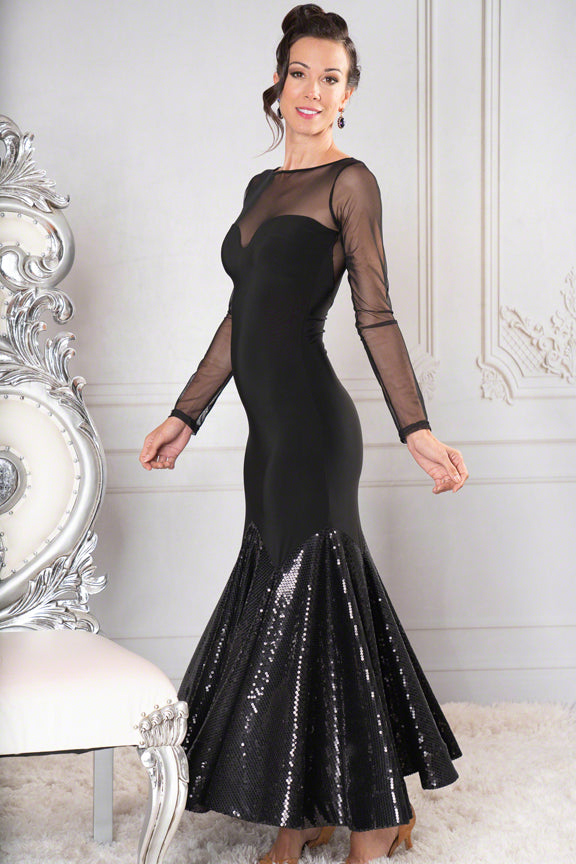 dance america long black ballroom and evening dress with low back with sheer mesh inserts, long sheer mesh sleeves and sequined skirt from dancewear for you australia